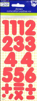 Number Stickers: Basic Red 1""