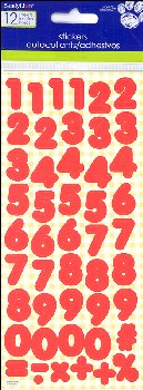 Number Stickers: Basic Red 1/2""