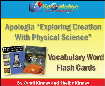 Apologia Physical Science Vocabulary Word Flashcards Printed (1st & 2nd Editions)