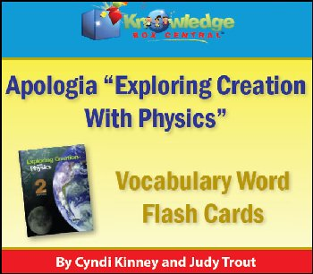 Apologia Physics Vocabulary Word Flashcards Printed
