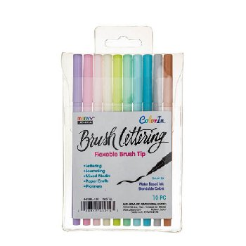 ColorIn Brush Lettering Markers Pastel Set - Pack of 10