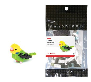 Nanoblock - Budgie Green Opaline (70+ Pieces)