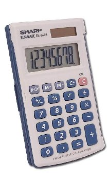 Handheld Calculator with Hinged Hard Cover