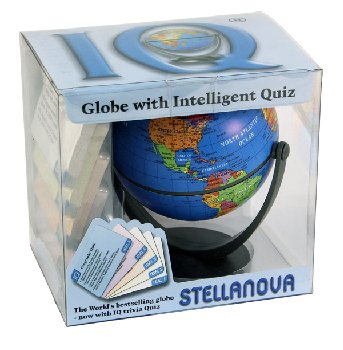"Political Blue 4.5"" Mini-Globe with 4 Sets of IQ Quiz Cards and Dice"