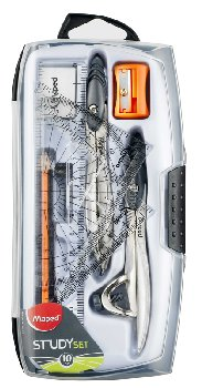 Study Compass and Geometry Kit, 10-Piece Assortment with Shatterproof Box, Assorted Color