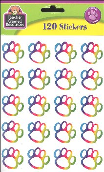 Rainbow Paw Prints Stickers (120 per pack)