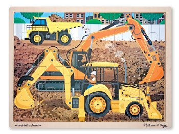 Diggers at Work (Construction Site) Wooden Jigsaw Puzzle (24 pieces)