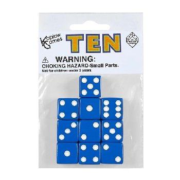 Blue Dice with White Dots (10 per bag - 16mm)