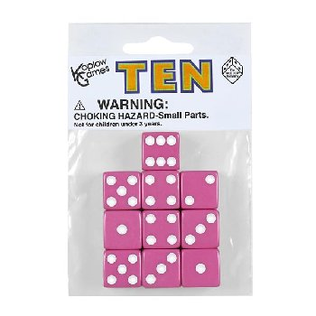 Pink Dice with White Dots (10 per bag - 16mm)