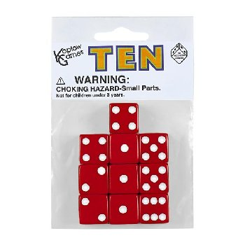 Red Dice with White Dots (10 per bag - 16mm)