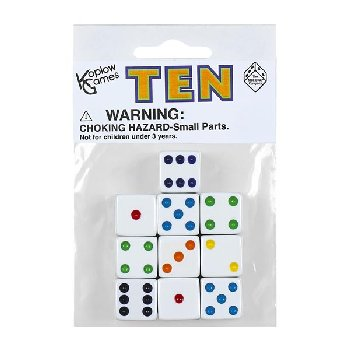White Dice with Multi-Colored Dots (10 per bag - 16mm)