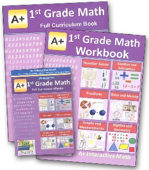 A+ Interactive Math 1st Grade Full Curriculum Textbook, Workbook & eBook CD Software w/ Solutions Manual Bundle