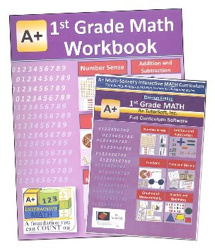 A+ Interactive Math 1st Grade Premium Edition CD Software & Workbook Bundle