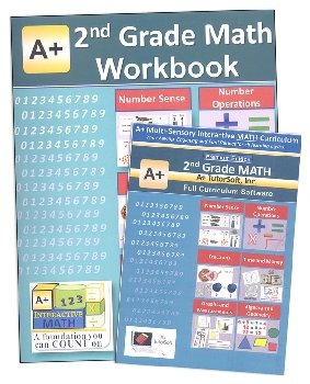 A+ Interactive Math 2nd Grade Premium Edition CD Software & Workbook Bundle