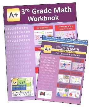 A+ Interactive Math 3rd Grade Premium Edition CD Software & Workbook Bundle