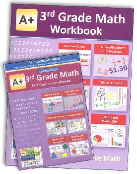 A+ Interactive Math 3rd Grade Standard Edition CD Software & Workbook Bundle