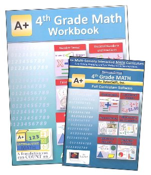 A+ Interactive Math 4th Grade Premium Edition CD Software & Workbook Bundle