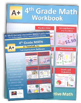 A+ Interactive Math 4th Grade Standard Edition CD Software & Workbook Bundle
