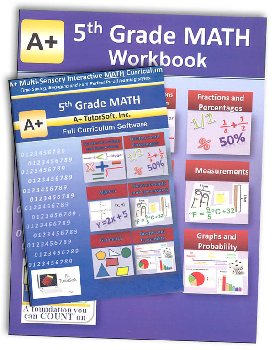 A+ Interactive Math 5th Grade Premium Edition CD Software & Workbook Bundle