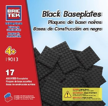 Baseplates Black (17 Pieces) Assorted Sizes - Brictek