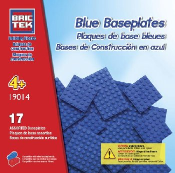 Baseplates Blue (17 Pieces) Assorted Sizes - Brictek
