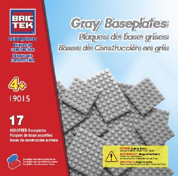 Baseplates Grey (17 Pieces) Assorted Sizes - Brictek