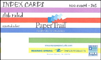 "Bar Ruled Index Cards (3"" x 5"") White"