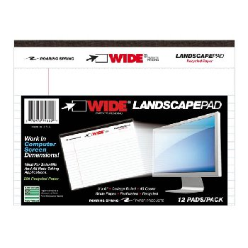 "Landscape Wide Pad (8"" x 6"") College Ruled White Paper"