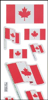Canadian Flags Prismatic Stickers (2 sheets)