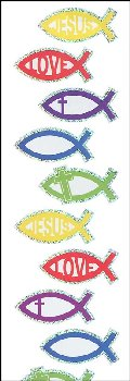 Jesus Fish Prismatic Stickers (2 sheets)