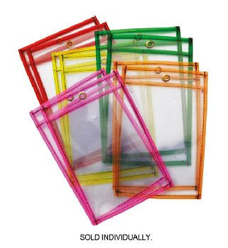 "Dry Erase Pocket Neon Assorted Color (6"" x 9"")"