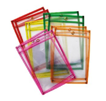 "Dry Erase Pockets Neon Colors Assorted (6"" x 9"") 10 pieces"