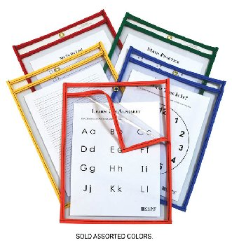 "Easy Loading Reusable Dry Erase Pocket (9"" x 12"") assorted color"