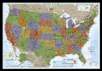 "United States Decorator Wall Map 43"" x 30"" Laminated"