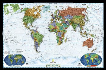 "World Decorator Wall Map 46"" x 30"" Laminated"
