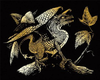 Engraving Art - Baby Dragon (Gold Foil)