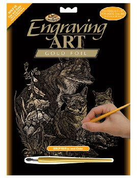Engraving Art - Fox & Cubs (Gold Foil)