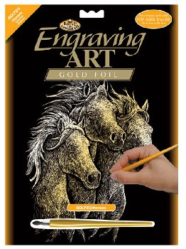 Engraving Art - Horses (Gold Foil)