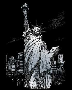 Engraving Art - Lady Liberty (Silver Foil)