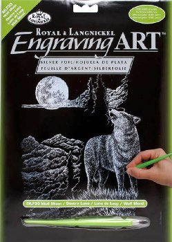 Engraving Art - Wolf Moon (Silver Foil)