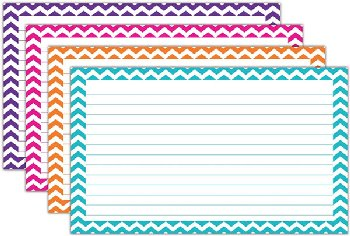 "Border Index Cards - Lined Assorted Chevron 3"" x 5"" (75 count)"