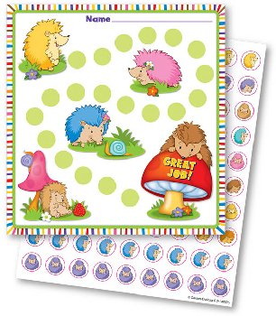 Mini Incentive Charts with Stickers - Happy Hedgehogs