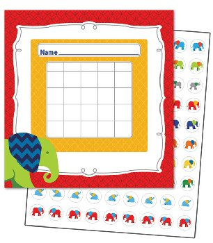 Mini Incentive Charts with Stickers - Parade of Elephants
