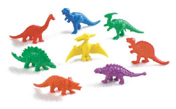 Dinosaur Counters (6 colors, 128 pieces)