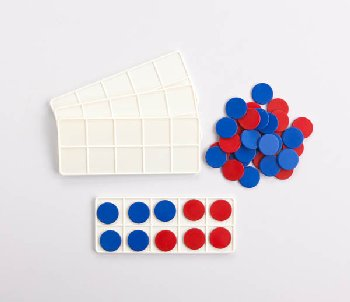 Plastic Ten Frame Classroom Set (4 pieces w/ 40 red/blue counters)