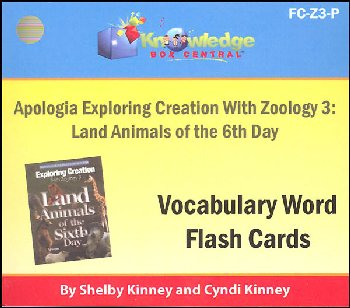Apologia Exploring Creation with Zoology 3 Land Animals of the 6th Day Vocabulary Flashcards (Printed)