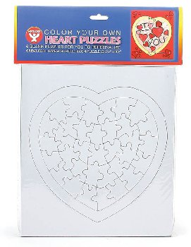 Color-Your-Own Puzzles: Hearts (6 per pack)