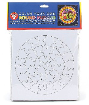 Color-Your-Own Puzzles: Round (6 per pack)