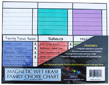 "Magnetic Wet Erase Family Chore Chart (8.5"" x 11"") Expansion Pack"