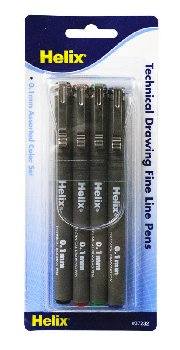 Technical Drawing Pens - 0.1mm (Set of 4 colors)